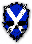 Dripping Skull With Scottish Flag external Vinyl Car Sticker 85x120mm